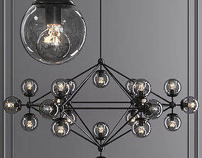 3D Modo 6 Sided Chandelier 21 Globes Black and Gray Glass