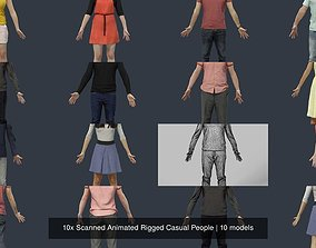 10x Scanned Animated Rigged Casual 3D model