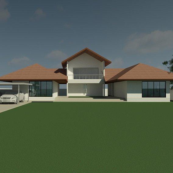 Tropical house in U shape