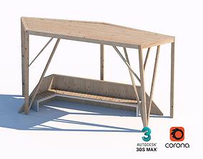 wooden sunshade summerhouse bench 3D model plank