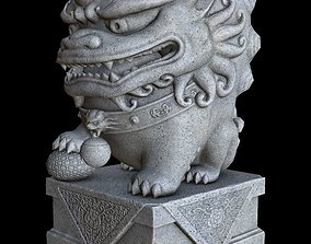 Stylized Chinese Guardian Lion Statue 3D asset