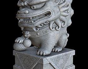 Stylized Chinese Guardian Lion Statue 3D asset