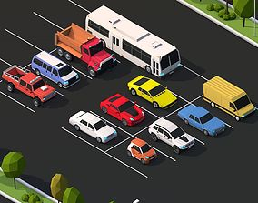 Cartoon Low Poly City Cars Pack 3D asset