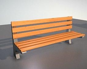 Wooden Park Bench With Concrete 3D model