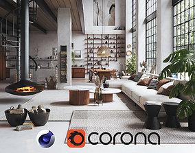 Boho Design Interior Scene for Cinema 4D and 3D model 2