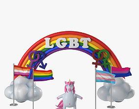 3D LGBT-community symbols