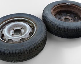 realtime Ultra realistic Old Tyre Scan 8k HD Low-poly 3D