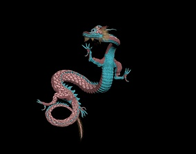 3D Red Eastern Dragon