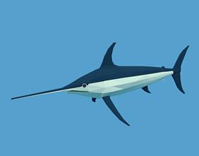 Low Poly Cartoon Swordfish 3D asset