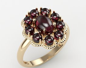 Women ring with cabochons 3dm stl vintage