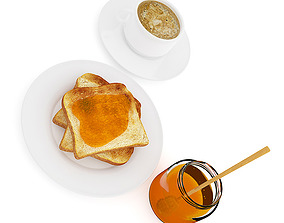 3D Toast with Honey and Coffee