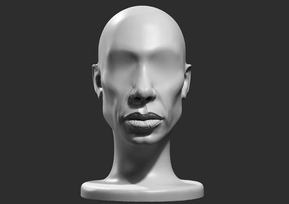 human head modern sculpture 3d print model 112