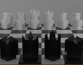 3D asset Modern minimalist chess set