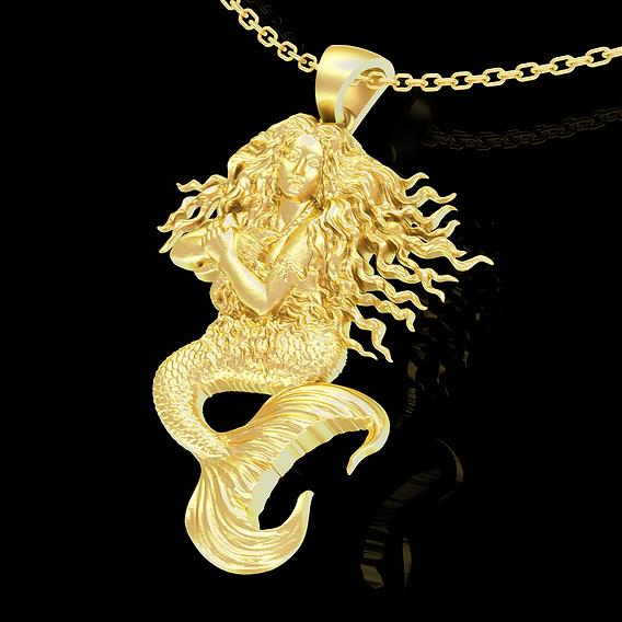 Mermaid Pendant jewelry Gold 3D print model