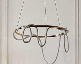 Sculptural Brass Circular Light Pendant by 3D model 1