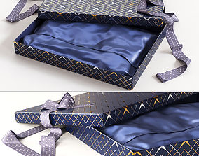 Open gift box with ribbon 3D cardboard