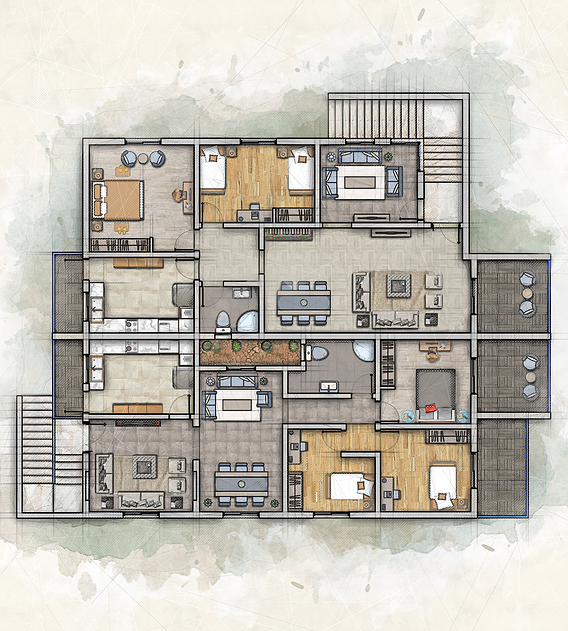 2D plan With photoshop render