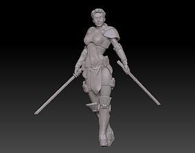 Famale double sword warrior 3D printable model