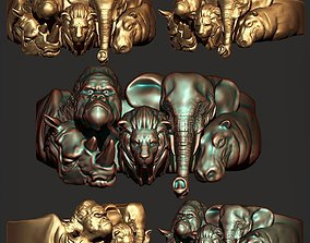 lion Jungle Animal Ring Ready for 3D Print