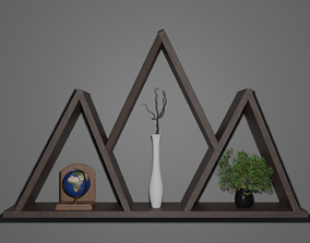 library shelf 3D model low-poly