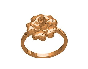 3D print model jewelry rose ring