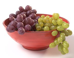 3D model Grapes in a red bowl food
