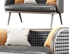 3D Victoria leather two-seater restaurant sofa NC17