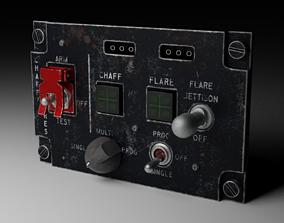 F16 CHAFF and FLARE Panel 3D