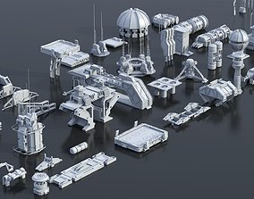 3D model Scifi building dressing kitbash pack