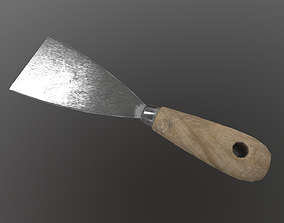 Spatula with wooden handle 3D asset