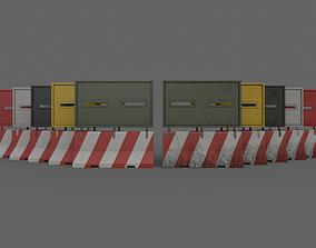 PBR Concrete Roadblock Barrier V3 3D model