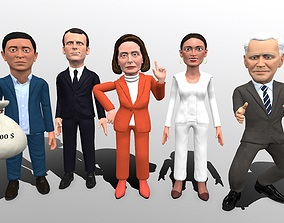 Political caricatures pack 4 3D