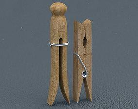 Wooden Clothespins 3D