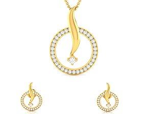 wedding Women pendant-earrings set 3dm render detail