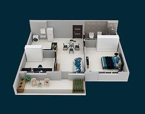 3D floor plan Apartment F2