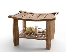 Spa Teak Shower Bench with Shelf 3D model