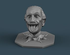 EinsteinTongue out with Roots 3D print model