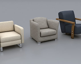 Lowpoly Sofa Chairs Pack 3D asset