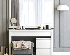 3D model Ikea Malm Dressing Table with Mirror and 2