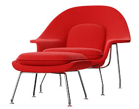 3D model Womb Chair with Ottoman by Eero