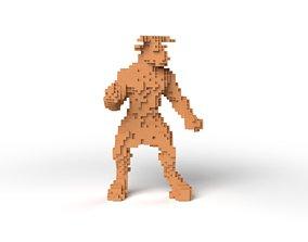 Minotaur Minecraft Voxel 3D asset