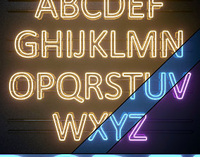 Light modules Set 08 Neon Alphabet 3D model