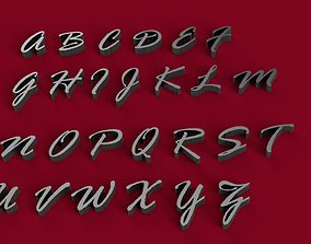 RAGE ITALIC font uppercase and lowercase 3D letters STL