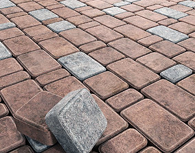 3D Paving stone red and gray