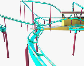 3D model low-poly Roller coaster