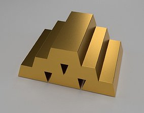 3D model Low poly gold bars