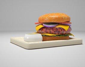 Grilled Burger hamburger 3D model