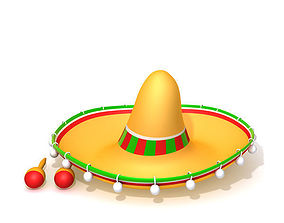 3D model Hat Sombrero And Maracas