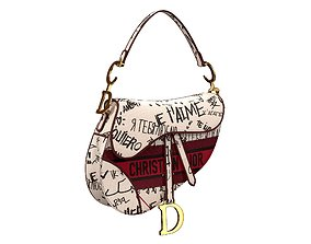 3D model Dior Saddle Bag Graffiti Embroidery