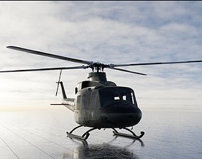 3D Bell 412 military attack and transport helicopter